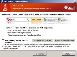 Java installer with Yahoo toolbar